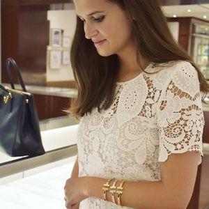 Beautiful Women Gold T Cuff Charm Bracelet Bangle